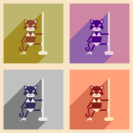 striptease: Set of flat icons with long shadow cat cartoon Illustration