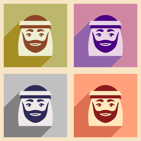 arab adult: Concept flat icons with long shadow Arab men