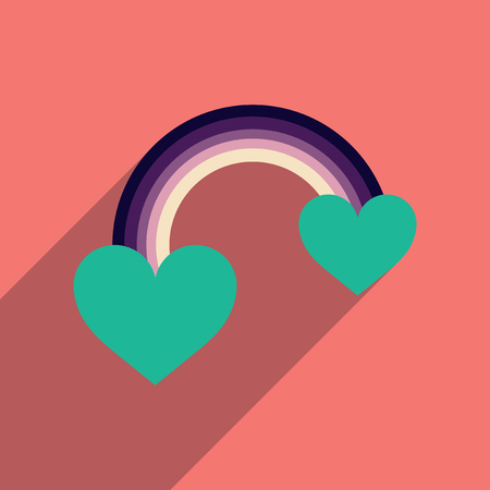 bisexuality: Flat web icon with long shadow rainbow heart