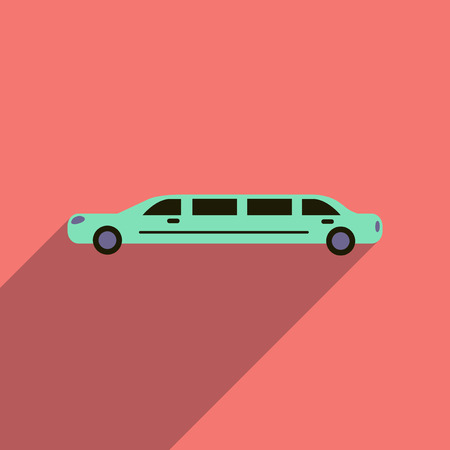 limousine: Flat web icon with long shadow limousine