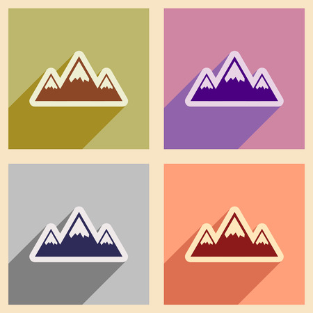 extreme terrain: Set of flat web icons with long shadow mountains