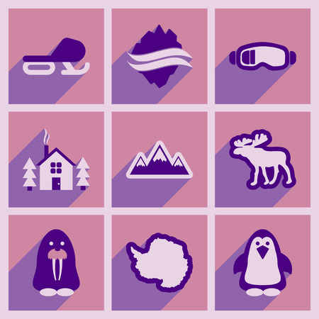 albatross: Set of flat web icons with long shadow Arctic Illustration