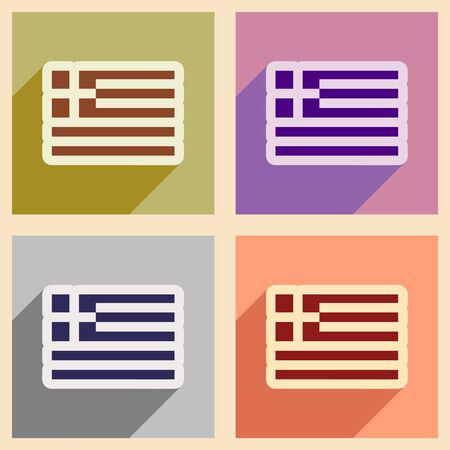 hellenic: Set of flat web icons with long shadow flag Greece Illustration