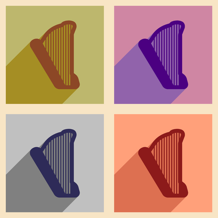 symphonic: Set of flat web icons with long shadow harp