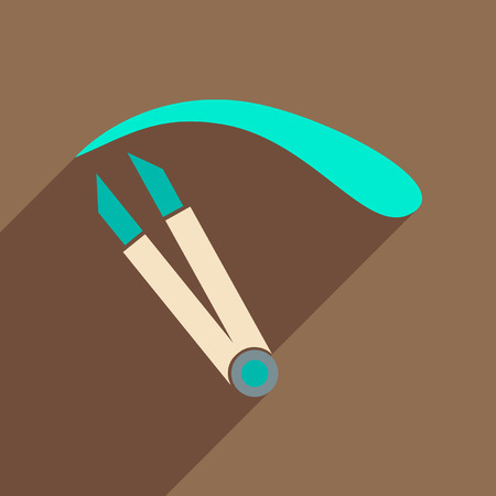 tweezer: Flat icon with long shadow women eyebrow Tweezers Illustration