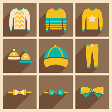 cardigan: Modern flat icons vector collection with shadow Men Clothes