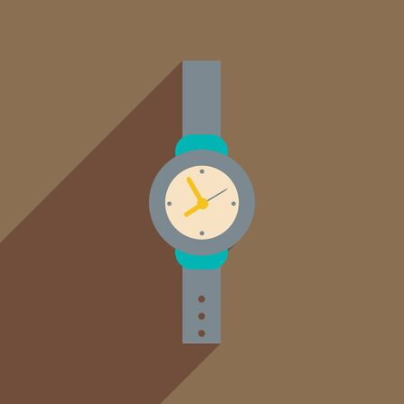 chrome man: Flat icon with long shadow Men Watch