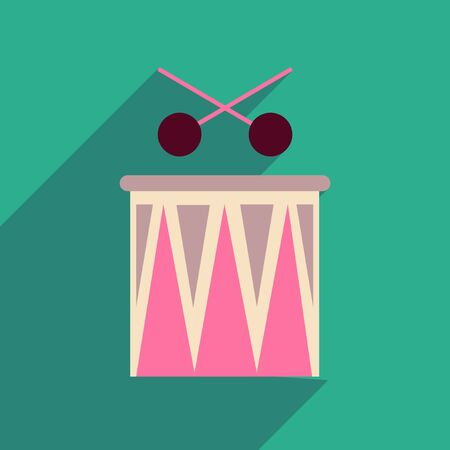 intonation: Flat web icon with long shadow carnival drums