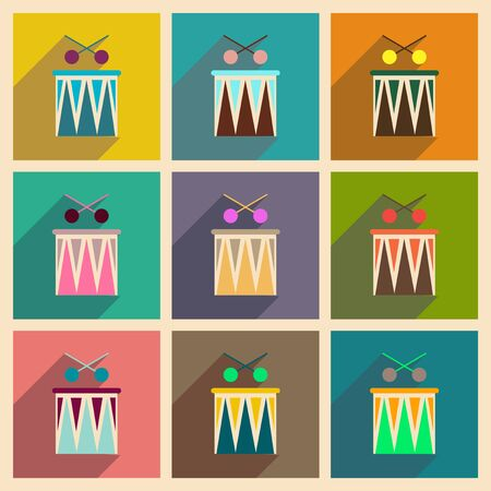 intonation: Concept of flat icons with long shadow carnival drums