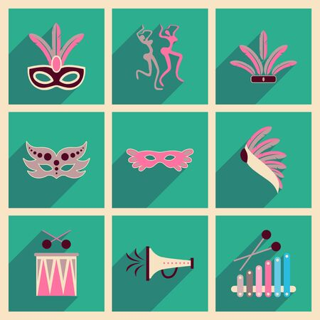 beauty pageant: Concept of flat icons with long shadow Brazilian Carnival