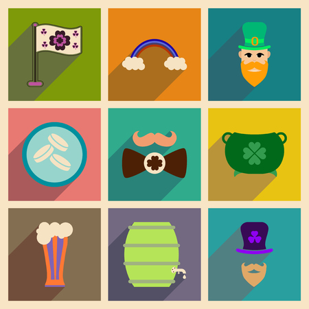 animal st  patricks day: Concept of flat icons with long shadow St. Patricks Festival
