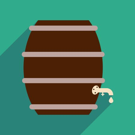 distillery: Flat web icon with long shadow keg of beer Illustration