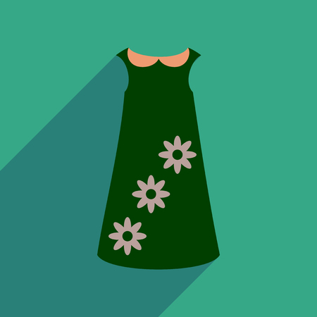 forties: Flat icon with long shadow dress flowers