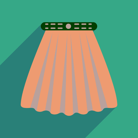 glamors: Flat icon with long shadow  women skirt
