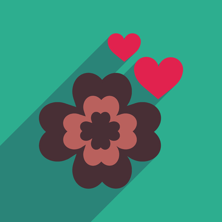four fourleaf: Flat web icon with long shadow clover