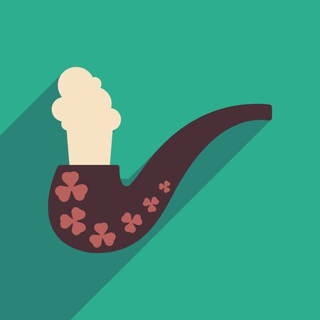 toxic product: Flat web icon with long shadow smoking pipe Illustration