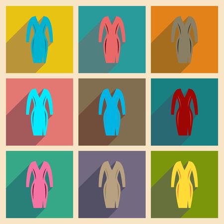 elegant dress: Concept of flat icons with long shadow  elegant dress Illustration