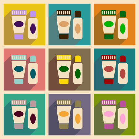 personal grooming: Concept of flat icons with long shadow  cream shaving gel Illustration