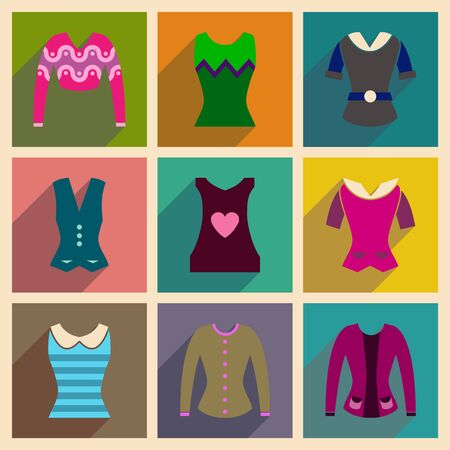 cardigan: Concept of flat icons with long shadow  ladies blouses