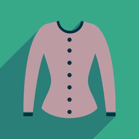 cardigan: Flat icon with long shadow  women cardigan