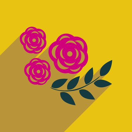 plant delicate: flat icon with long shadow  rose branch