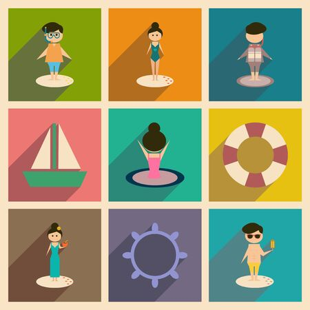 shadow people: Concept of flat icons with long  shadow people relaxing beach Illustration