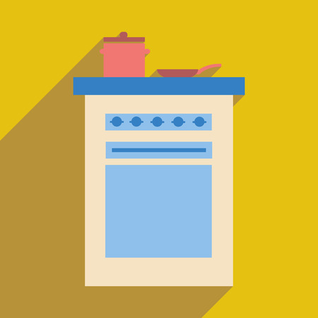 pans: Flat web icon with  long shadow stove and pans Illustration