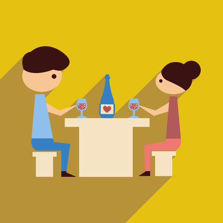 husband and wife: Flat web icon with  long shadow husband wife dinner