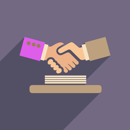 agreement shaking hands: Flat web icon with long  shadow handshake Illustration