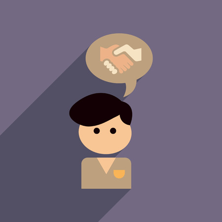 Flat web icon with long  shadow businessman thinks handshake Illustration