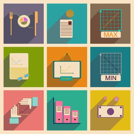 infomation: Concept of flat icons with long  shadow infographics