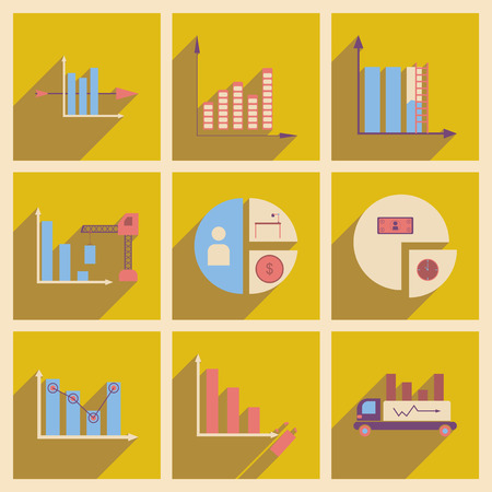 infomation: Concept of flat icons with  long shadow  charts economics Illustration