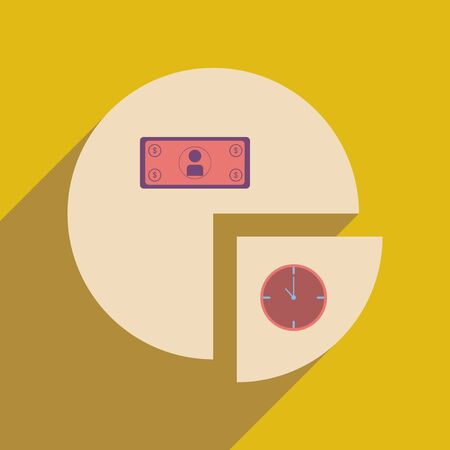 time is money: Flat web icon with long  shadow time money chart