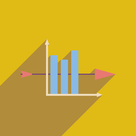Flat web icon with long  shadow economic graph Illustration