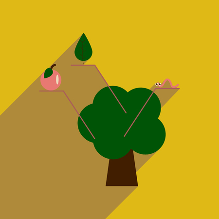 Flat web icon with long  shadow tree infographics