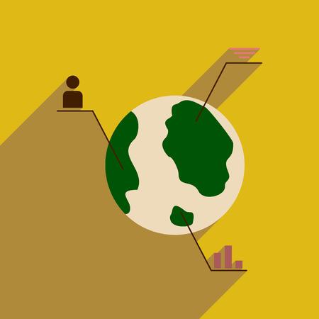 diagrama de arbol: Flat web icon with long  shadow Earth infographics Vectores