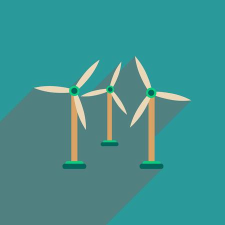wind wheel: Flat web icon with long  shadow wind turbines