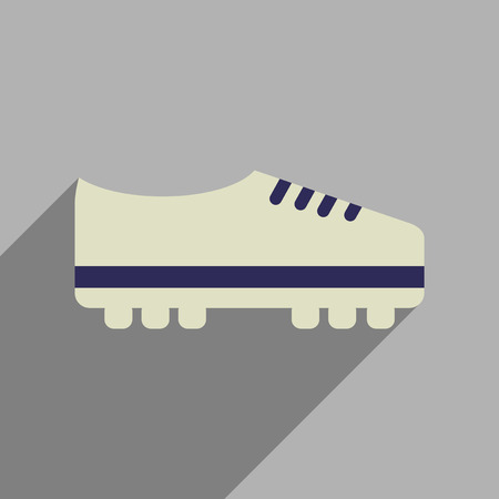 soccer shoes: Flat web icon with long  shadow soccer shoes