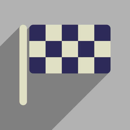 speedway: Flat web icon with long  shadow  checkered flag