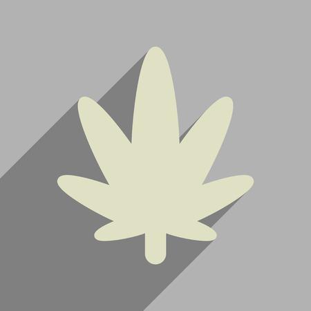 tetrahydrocannabinol: Flat web icon with long  shadow cannabis