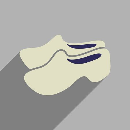 wooden shoes: Flat web icon with long  shadow wooden shoes Illustration