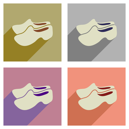 wooden shoes: Concept of flat icons with long  shadow wooden shoes Illustration