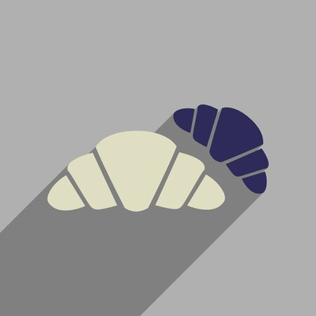 croissants: Flat web icon with long  shadow croissants Illustration