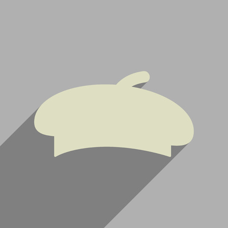 military beret: Flat web icon with long  shadow beret