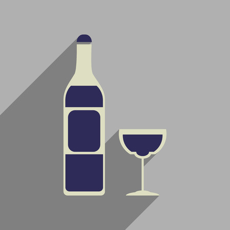 pinot grigio: Flat web icon with long  shadow glass of wine bottle Illustration