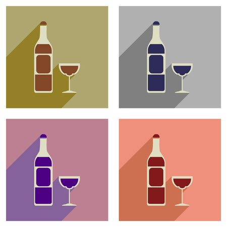 red wine pouring: Concept of flat icons with long  shadow glass of wine bottle