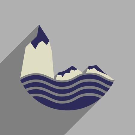 cliffs: Flat web icon with long  shadow sea cliffs Illustration