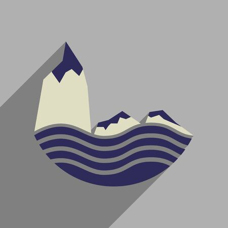 Flat web icon with long  shadow sea cliffs Illustration