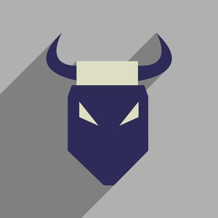 toreador: Flat web icon with long  shadow bull