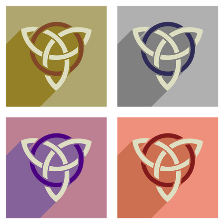 wicca: Concept of flat icons with long  shadow celtic symbol